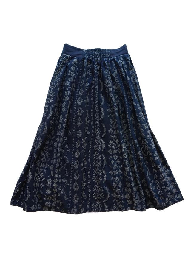 インディゴガーゼ花曇り柄タックギャザースカート
