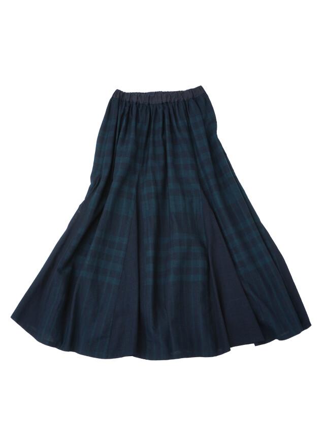 夏の38.5インディゴチェックゴアードギャザースカート