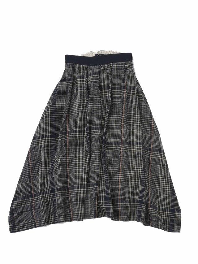 インディゴガーゼチェックヘム落ちスカート