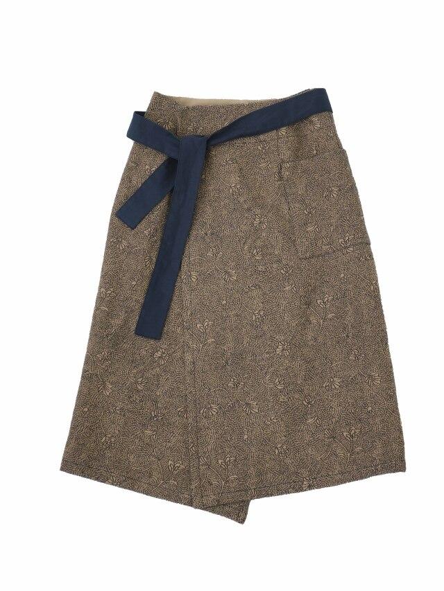 リンボウギク柄刺子ジャガード巻きスカート