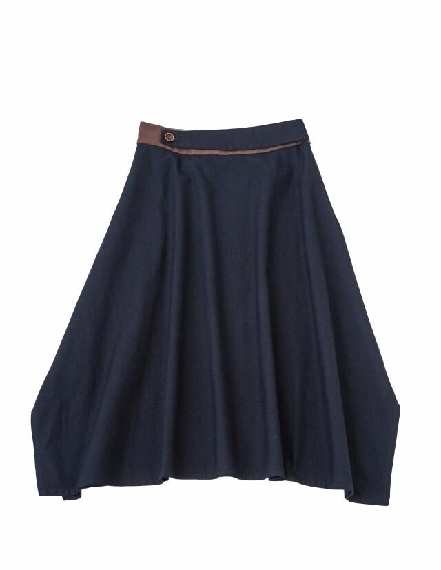 インディゴ平織ヘム落ちスカート