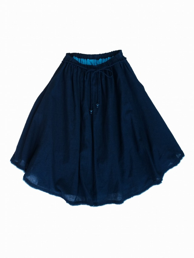 インディゴガーゼギャザースカート