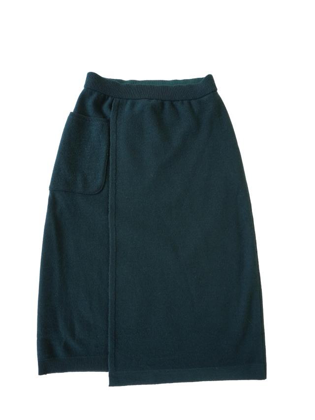 ウール圧縮セミフレアニットスカート