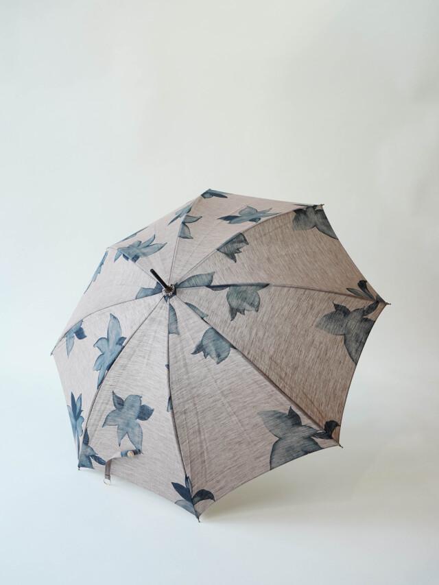 リネンシャンブレー蓼藍柄日傘