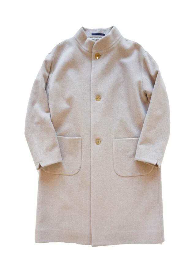 ウールモッサースタンド衿コート
