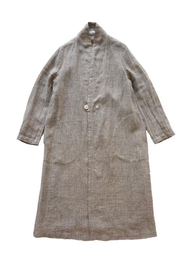 リネングレンチェックスタンド衿コート