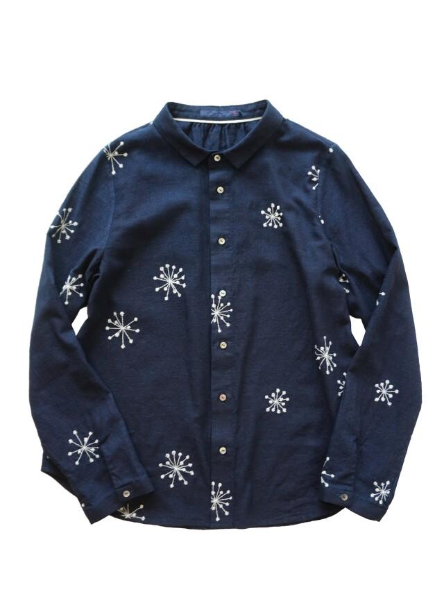 インディゴガーゼヤツデの実柄レギュラーシャツ