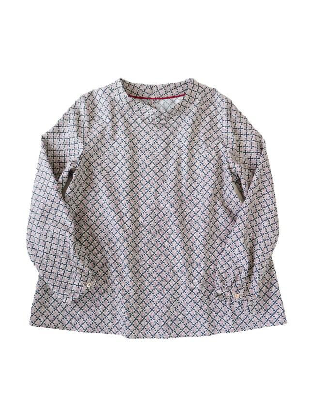 コットンビエラ小紋柄スタンド衿シャツ