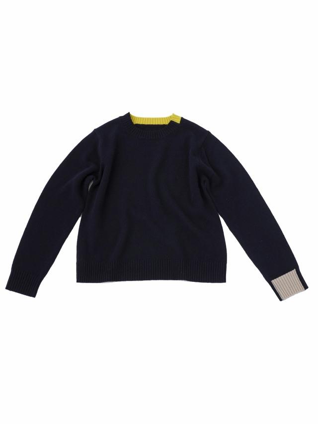 7Gウールナイロン配色セーター