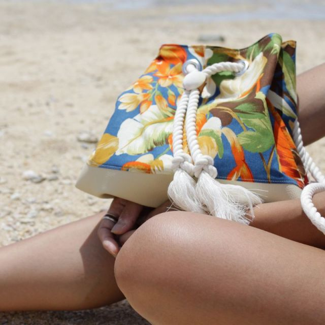 海/ビーチ/マリン/アクセサリー/リゾート/パームシーズン/ 沖縄/通販 /ハワイ/ハンドメイド/巾着ポーチ/トロピカルアイランド/フラダンス
