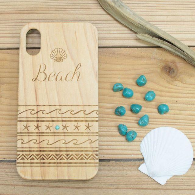 iPhoneX/ウッド/木製/iPhoneケース/ビーチ/ネイティブ/ターコイズ/オルテガ柄/貝がら/スマホケース/沖縄/通販/パームシーズン