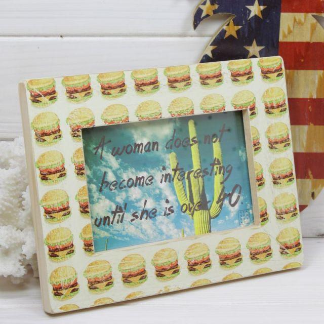 seashoreinc/木製/写真立て/フォトフレーム/ハンバーガー/ビーチハウス/パームシーズン/ 沖縄/通販 /ハンドメイド