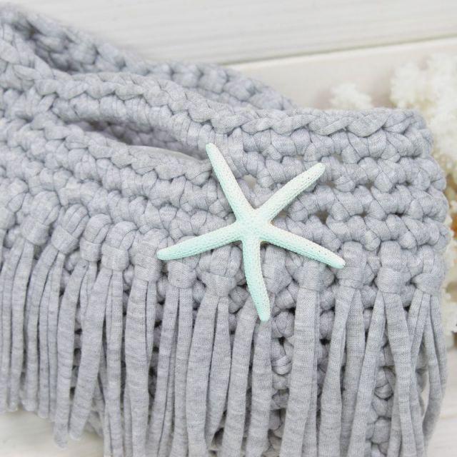 マルシェバッグ/手編みバッグ/海/ビーチ/マリン/ファッション/パームシーズン/ 沖縄/通販 /ハンドメイド/グレー/スターフィッシュ