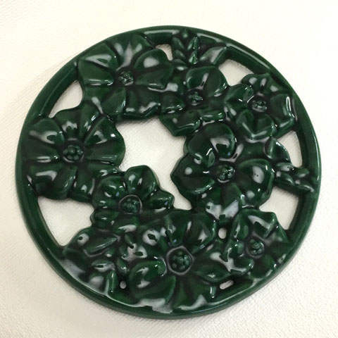 フランスブロカント ホウロウ鍋敷き(花)