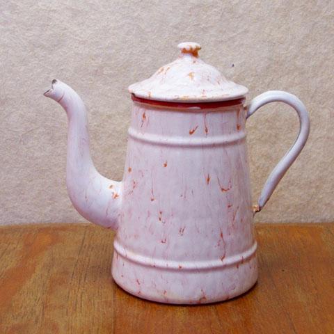 フランス ブロカント ホウロウ コーヒーポット(マーブル)
