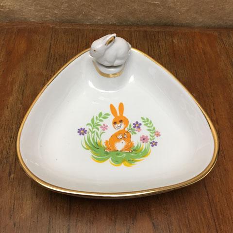 フランスブロカント ベビー用保温皿(うさぎ)