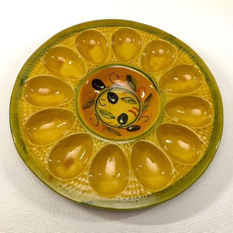 フランス ブロカント  卵専用  皿 ( オリーブ)