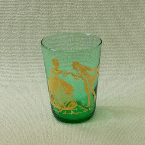 フランス ブロカント グリーン グラス(ゴールド柄)