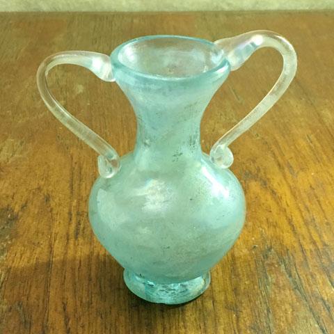フランス ブロカント 水色ガラス 壺
