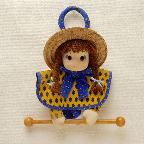 フランス ブロカント  タオルハンガー 人形