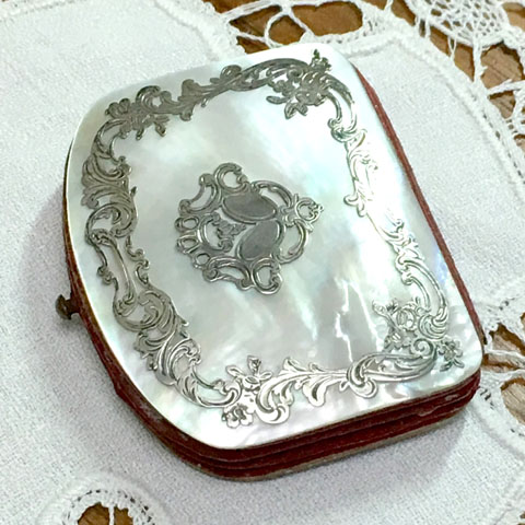 フランス アンティーク 白蝶貝シルバー細工 小銭入れ(19世紀)