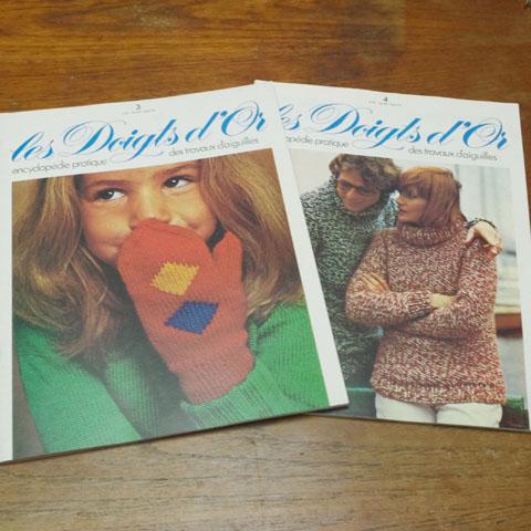 """ビンテージ本 """"Les Doigts d'Or""""  3 号、 4号、  手芸雑誌(1976年)"""