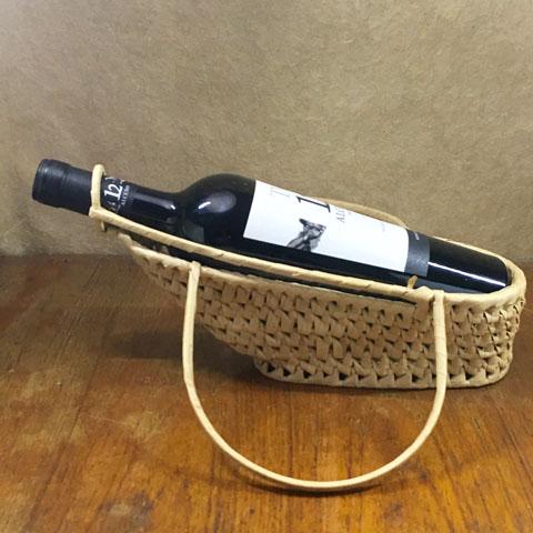 フランス ブロカント ワインかご(持ち手付き)