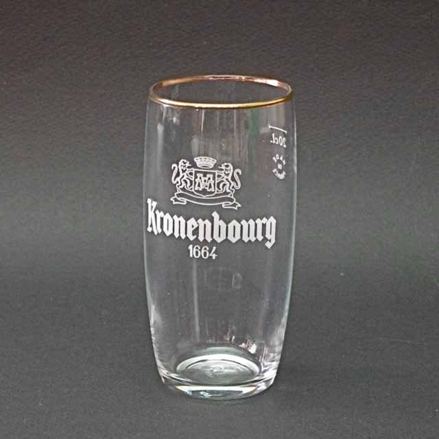 """Kronenbourg"" クローネンバーグ グラス (金縁)"