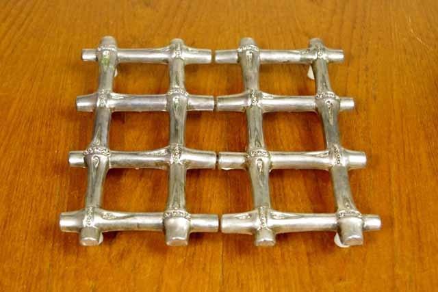 アンティーク鍋敷き(バンブー)シルバープレート