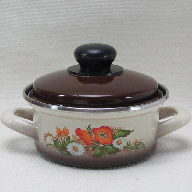 フランスブロカント ホウロウ 両手鍋(16cm)