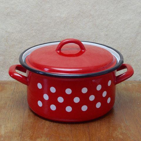 フランスブロカント ホウロウ 両手鍋(20cm)