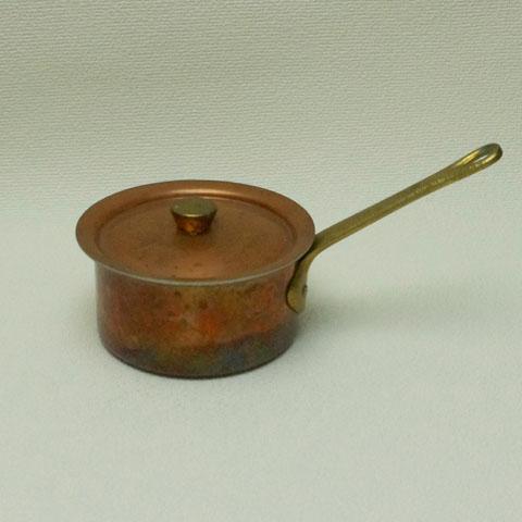フランスブロカント ミニ 銅製片手鍋(フタ付き)