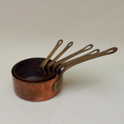 フランスブロカント ミニ 銅製片手鍋(5個セット)