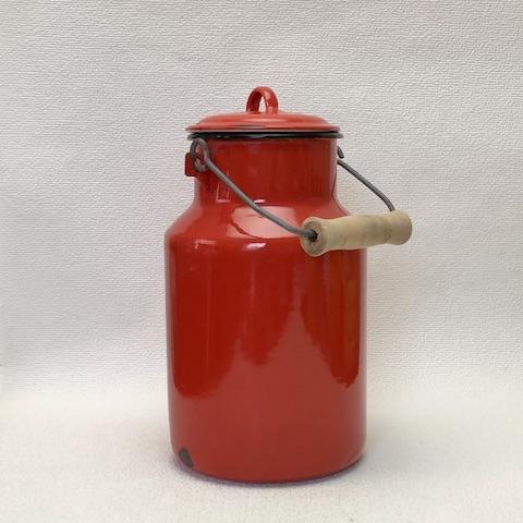 フランス ブロカント ホウロウ ミルク缶