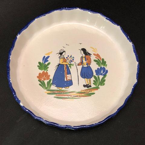 フランスブロカント ブルターニュ柄タルト皿(21cm)
