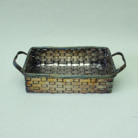 フランス ブロカント  銀色 真鍮かご(長方形)