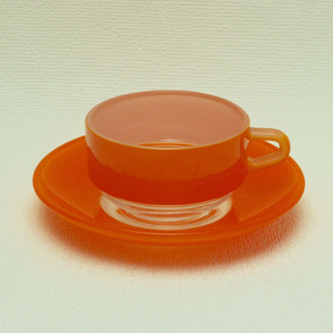 オールド・デュラレックス デミタスカップ&ソーサー (オレンジ)