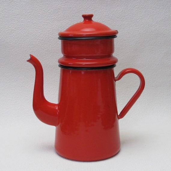 フランス ブロカント   ホウロウ  コーヒーポット