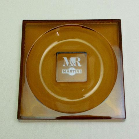 MARTINI  大型 灰皿 (茶色ガラス)