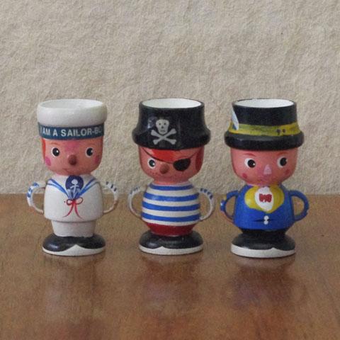 フランスブロカント エッグスタンド  (木製人形)セット
