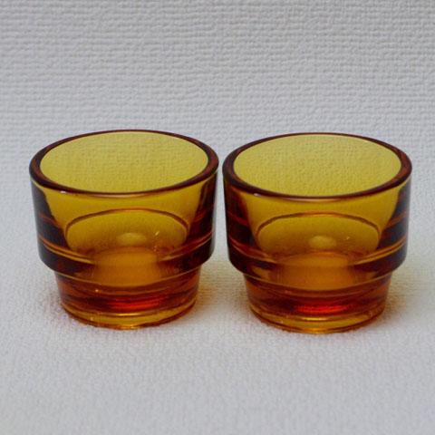 フランス ブロカント エッグスタンド (アンバーガラス)