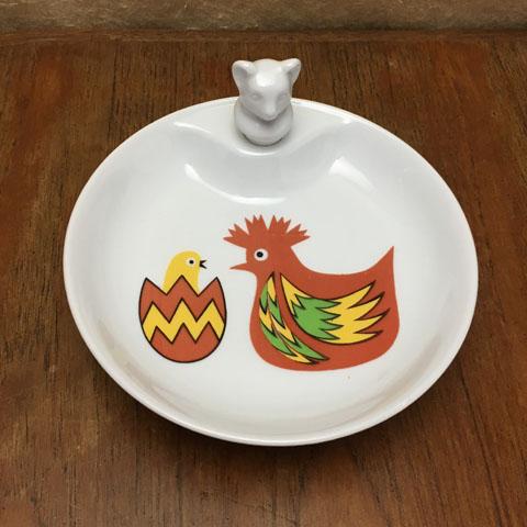 フランスブロカント ベビー用保温皿(鳥の親子)