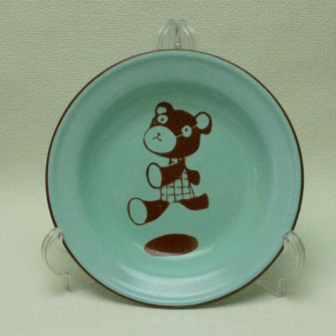 フランスブロカント  子供用ホウロウ 皿(テディーベアー)