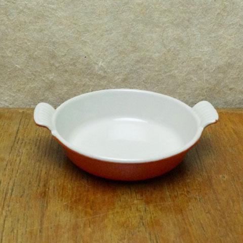 フランス ブロカント  ミニ グラタン皿(13cm)オレンジ