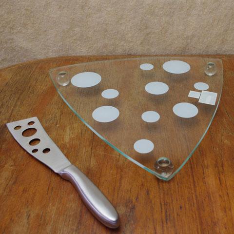 フランスブロカント チーズプレート (水玉ガラス)ナイフ付き