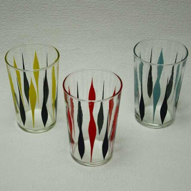フランスブロカント 1960年代 グラス(三色)