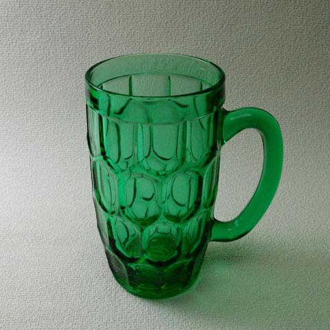 フランスブロカント  グリーン ガラス ジョッキ(1950年代)
