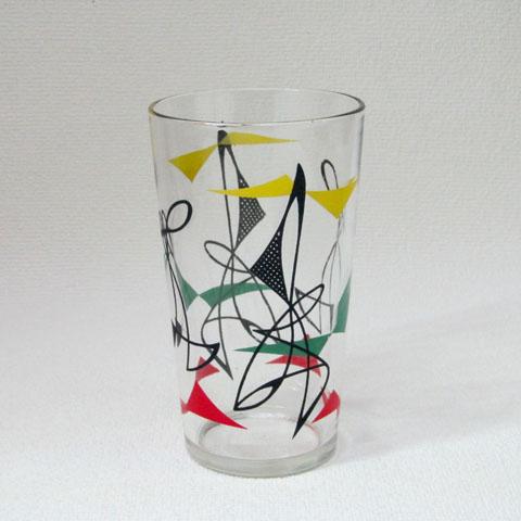 フランス ブロカント  アブストラクト柄 グラス