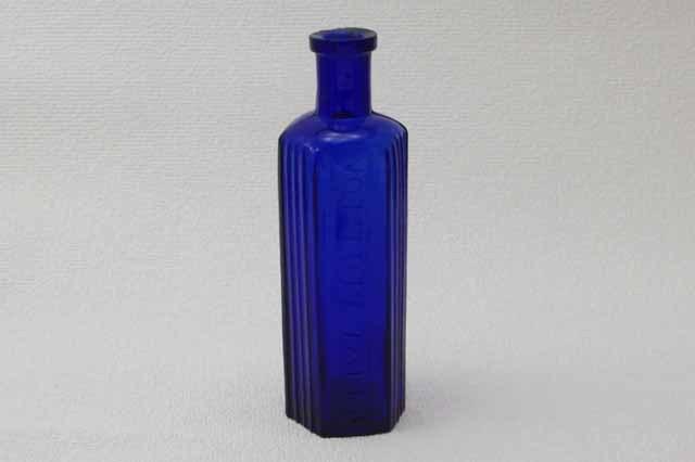 フランス ブロカント コバルトブルー ガラス瓶