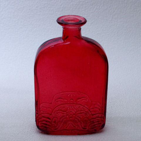フランス ブロカント 赤ガラス瓶(1950年代)